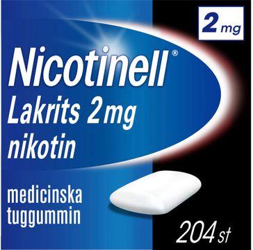 Nicotinell Lakrits 2 mg Nikotin, medicinskt tuggummi, 204 st