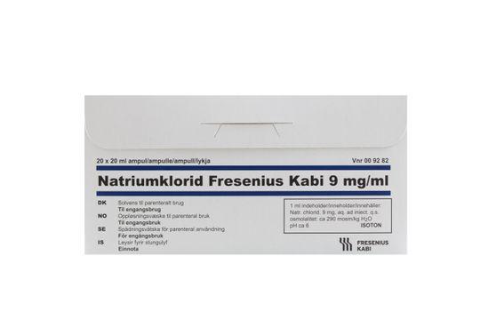 Natriumklorid Fresenius Kabi Spädningsvätska för parenteral användning 9 mg/ml Natriumklorid 20 x 20 milliliter