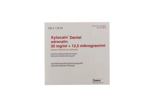Xylocain Dental Adrenalin Injektionsvätska, lösning 20 mg/ml + 12,5 mikrogram/ml Lidokain + adrenalin 100 x 1,8 milliliter
