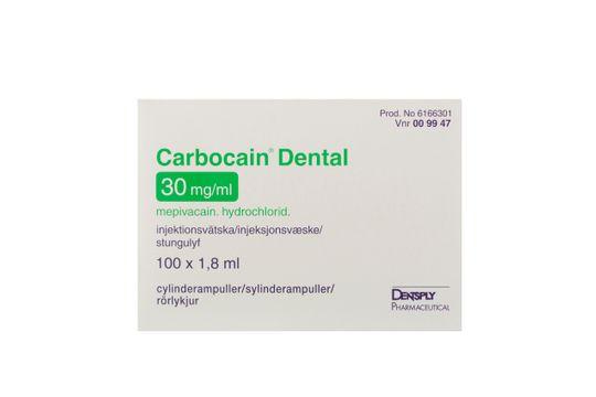 Carbocain dental Injektionsvätska, lösning 30 mg/ml 100 x 1,8 milliliter