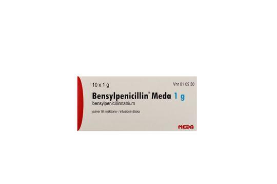 Bensylpenicillin Meda Pulver till injektions-/infusionsvätska, lösning Bensylpenicillin (penicillin G) 10 x 1 gram