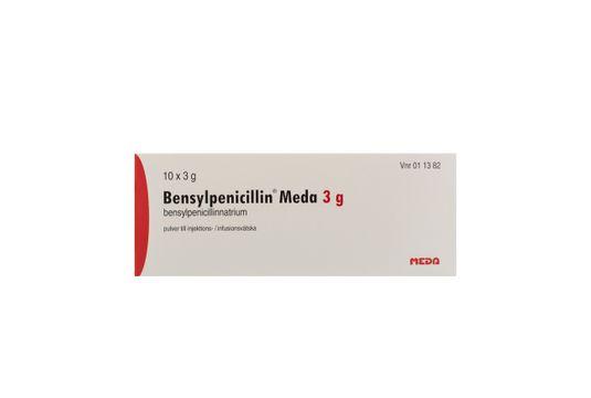 Bensylpenicillin Meda Pulver till injektions-/infusionsvätska, lösning Bensylpenicillin (penicillin G) 10 x 3 gram