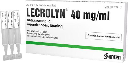 Lecrolyn Ögondroppar, lösning i endosbehållare 40 mg/ml Natriumkromoglikat 20 x 1 dos(er)