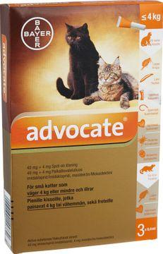 Advocate för små katter och illrar Spot-on, lösning 40 mg/4 mg 3 x 0,4 milliliter