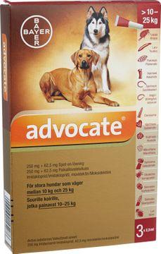 Advocate för stora hundar Spot-on, lösning 250 mg/62,5 mg 3 x 2,5 milliliter