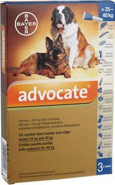 Advocate för mycket stora hundar Spot-on, lösning 400 mg/100 mg 3 x 4 milliliter