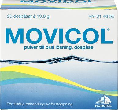 Movicol Pulver till oral lösning i dospåse Makrogol, kaliumklorid, natriumbikarbonat, natriumklorid 20 styck