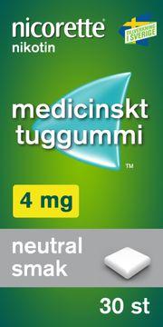 Nicorette  4 mg Neutral Smak Medicinskt nikotintuggummi, 30 st