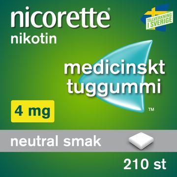 Nicorette 4 mg Medicinskt nikotintuggummi, 210 st