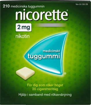 Nicorette 2 mg Nikotin, medicinskt tuggummi, 210 st