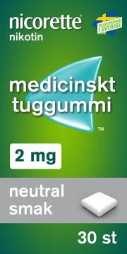 Nicorette 2 mg, Neutral Smak Medicinskt nikotintuggummi, 30 st