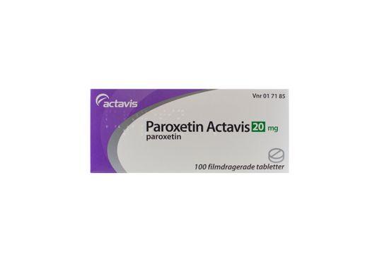 Paroxetin Actavis Filmdragerad tablett 20 mg Paroxetin 100 tablett(er)