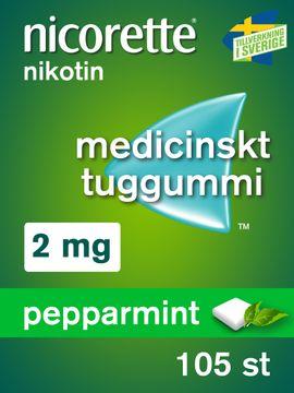 Nicorette Pepparmint Medicinskt nikotintuggummi, 2 mg, 105 st