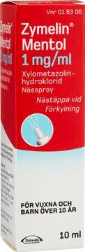 Zymelin Mentol 1 mg/ml Xylometazolin, nässpray, lösning, 10 ml