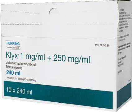 Klyx Rektallösning 1mg/ml+250mg/ml 10 x 120 milliliter