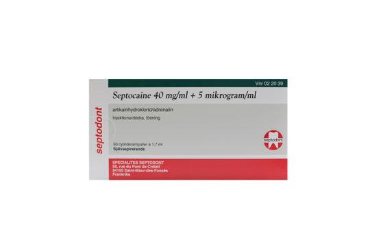 Septocaine Injektionsvätska, lösning 40 mg/ml + 5 mikrogram/ml 50 x 1,7 milliliter
