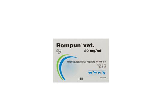 Rompun vet. Injektionsvätska, lösning 20 mg/ml 5 x 25 milliliter