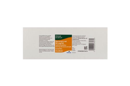 Norocarp vet Injektionsvätska, lösning 50 mg/ml 5 x 20 milliliter