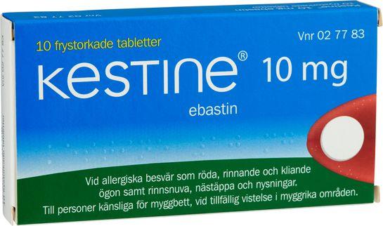 Kestine Frystorkad tablett 10 mg Ebastin 10 tablett(er)