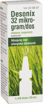 Desonix Nässpray med kortison. 32 µg, 120 doser.