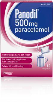 Panodil 500 mg Paracetamol, pulver, 12 st