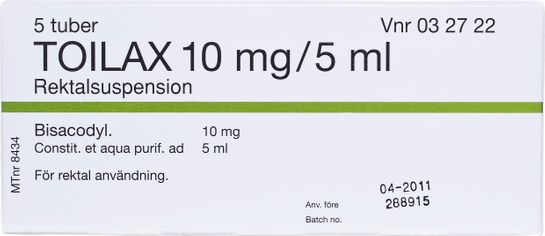 Toilax Rektalsuspension 10 mg/5 ml 5 x 5 milliliter