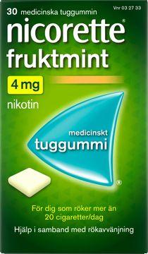 Nicorette Fruktmint Medicinskt nikotintuggummi, 4 mg, 30 st
