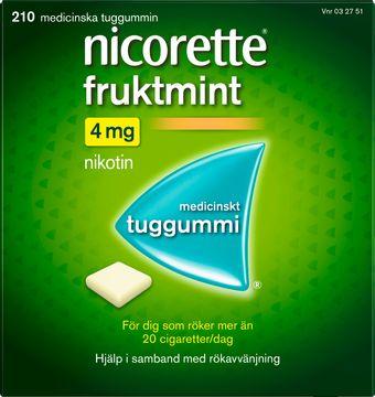 Nicorette Fruktmint 4 mg Nikotin, medicinskt tuggummi, 210 st