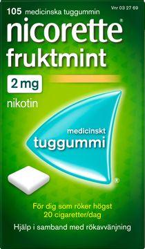 Nicorette Fruktmint Medicinskt nikotintuggummi, 2 mg, 105 st