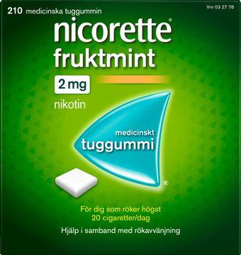 Nicorette Fruktmint Medicinskt nikotintuggummi, 2 mg, 210 st