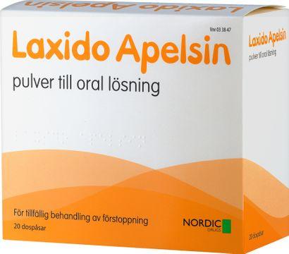 Laxido Apelsin Pulver till oral lösning Makrogol, kaliumklorid, natriumbikarbonat, natriumklorid 20 dospåsar