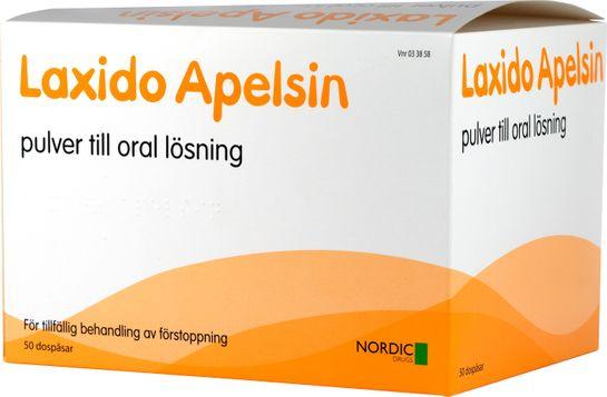 Laxido Apelsin Pulver till oral lösning Makrogol, kaliumklorid, natriumbikarbonat, natriumklorid 50 dospåsar