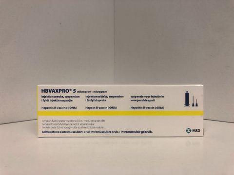 HBVAXPRO Injektionsvätska, suspension, förfylld spruta 5 mikrogram Vaccin mot hepatit B, renat antigen 1 x 0,5 milliliter