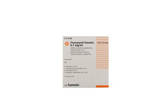Flumazenil hameln Injektions-/infusionsvätska, lösning 0,1 mg/ml Flumazenil 5 x 5 milliliter