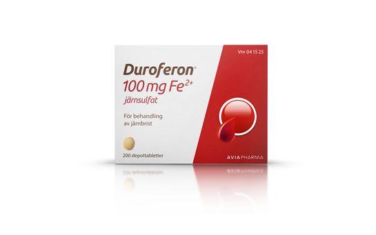 Duroferon järnsulfat Läkemedel. Gelatinfri depottablett 100 mg Fe2+ 200 styck