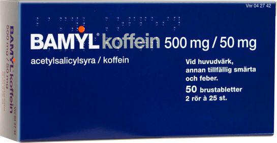 Bamyl koffein Brustablett 500 mg/50 mg Acetylsalicylsyra + koffein 2 x 25 styck