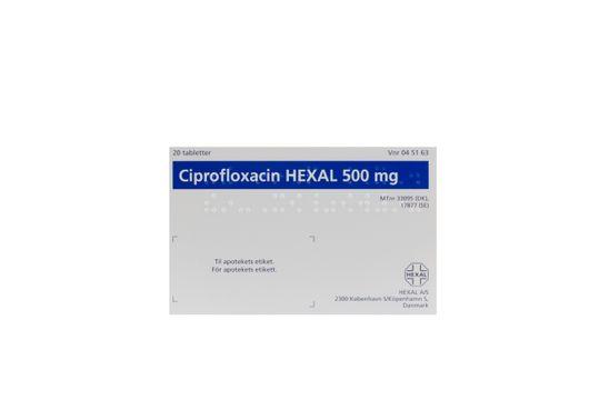 Ciprofloxacin Hexal Filmdragerad tablett 500 mg Ciprofloxacin 20 styck