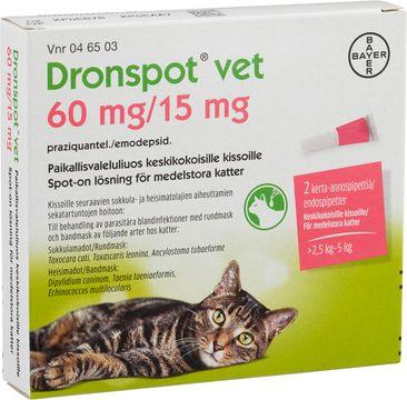 Dronspot vet 60 mg/ 15 mg Emodepsid/Prazikvantel, spot-on, lösning, 2 st