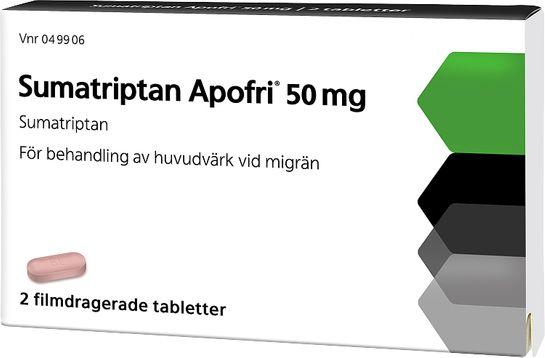 Sumatriptan Apofri 50 mg Sumatriptan, filmdragerad tablett, 2 st