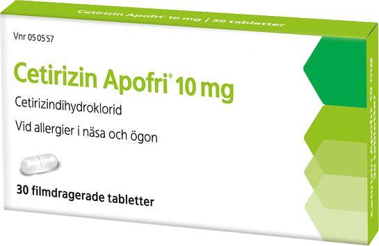 Cetirizin Apofri 10 mg Cetirizin, filmdragerad tablett, 30 st