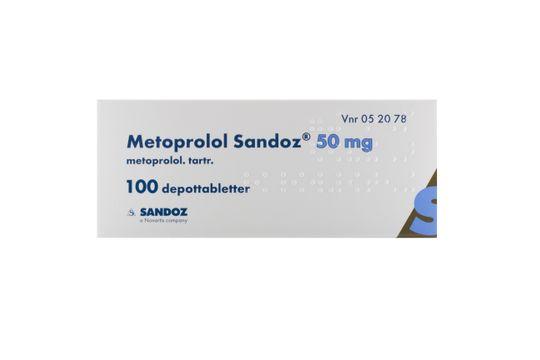 Metoprolol Sandoz Depottablett 50 mg Metoprolol 100 styck