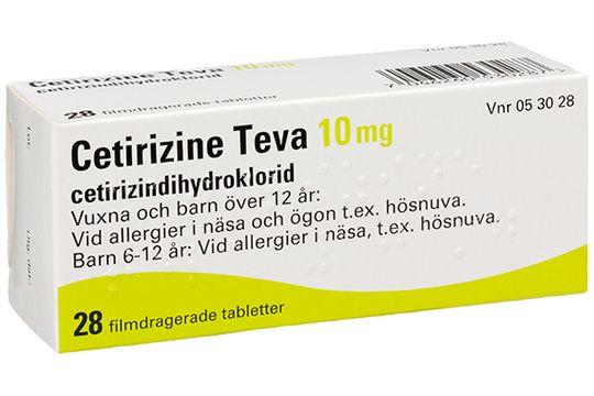 Cetirizine Teva Filmdragerad tablett 10 mg Cetirizin 28 tablett(er)