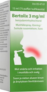 Bertolix 3 mg/ml Munhålespray, lösning, 15 ml