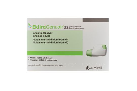 Eklira Genuair Inhalationspulver 322 mikrogram Aklidinium 60 dos(er)