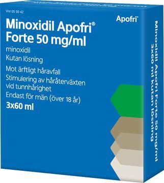 Minoxidil Apofri Forte 50 mg/ml Minoxidil, kutan lösning, 3x60 ml