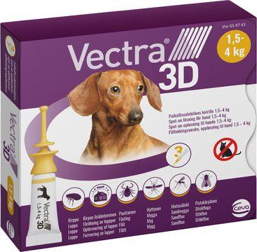 Vectra 3D för hund 1,5-4 kg Spot-on fästingmedel, lösning, 3 x 0,8 ml