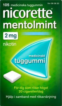 Nicorette Mentolmint Medicinskt nikotintuggummi, 2 mg, 105 st