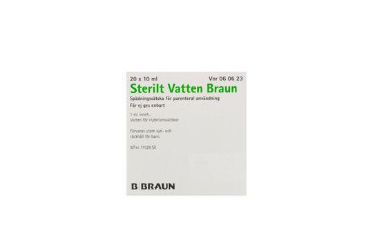 Sterilt vatten Braun Spädningsvätska för parenteral användning Vatten 20 x 10 milliliter