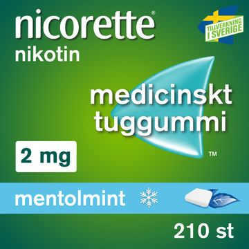 Nicorette Mentolmint 2 mg Nikotin, medicinskt tuggummi, 210 st