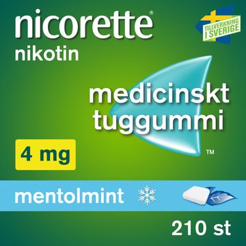 Nicorette Mentolmint 4 mg Medicinskt nikotintuggummi, 210 st
